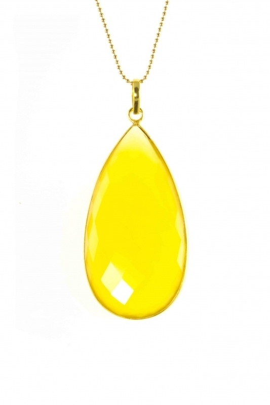 Ketting Elegance, lang met gele Onyx.