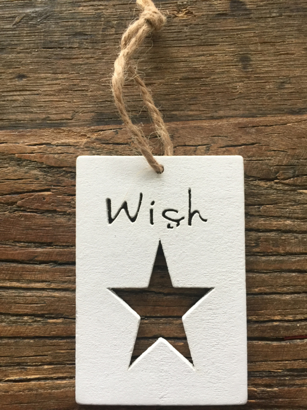 Houten label Wish, 5 stuks