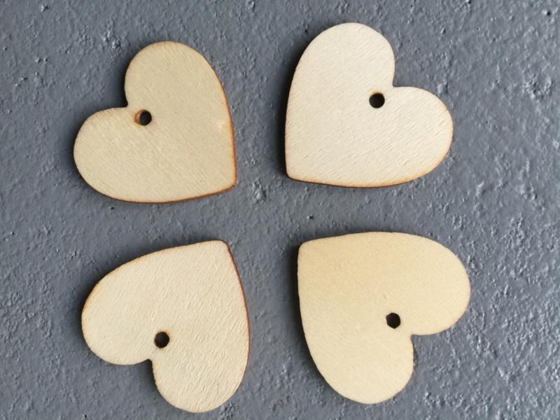 Kadolabel houten hartjes small, per 30 stuks.