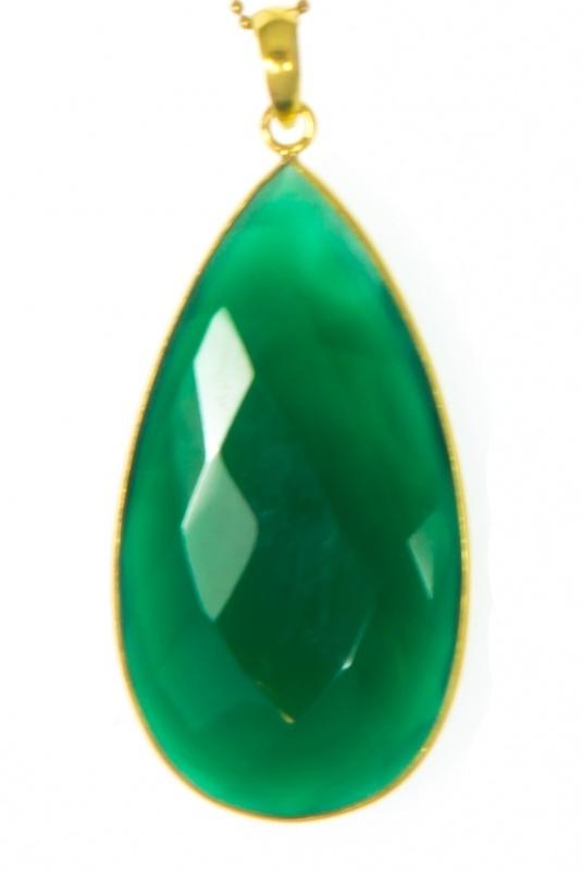 Ketting Blinckstar lang, groene onyx XL.