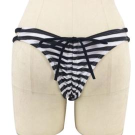 B'fun bikinistring  veter zwart wit M 34