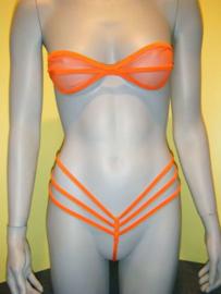 B'Fun mesh bandeau stringbikini oranje