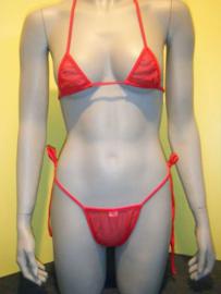 B'Fun mesh micro bikini rood