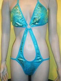"""string Monokini """"Danielle"""" Blauw goud M 36/38"""