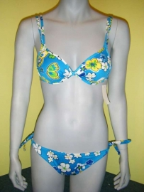 Passion bloemenbikini push up 36 38 blauw M/L