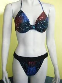 bikini blauw zwart 38 100% katoen