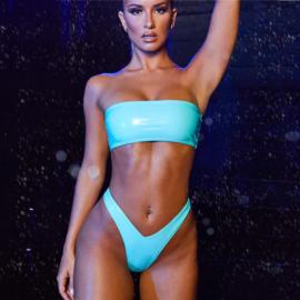 Lak string-bikini set 36 M groen