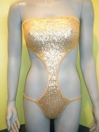 """string Monokini """"Danielle"""" goud pailletjes M 36/38"""