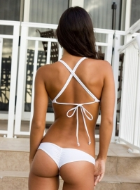 Scrunch cheeky bikini string wit XL 38 40