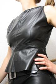 topje blouse leer leder mouwloos  M 36- 38 top