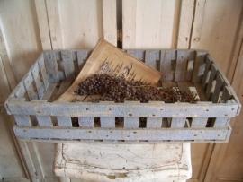 Oud houten kistje, lichtblauw