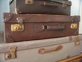 Oud leren koffer