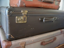 Groot donkerbruin koffer
