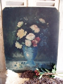 Geschilderd paneel met bloemen...