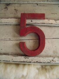Oud houten cijfer 5 GERESERVEERD!