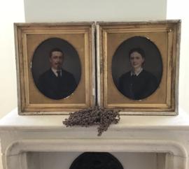 Oud portret man en vrouw