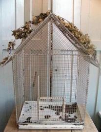 Oude vogelkooi van draad...