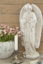 Beeld engel, white patina