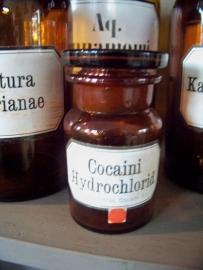Klein apothekersflesje Cocaini Hydrochlorid