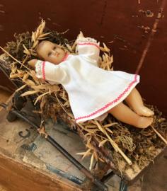 Antiek kindje Jezus van was, met glazen oogjes