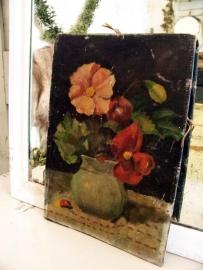 Bloemenschilderijtje, oud doek!