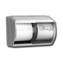 Duo toiletrol dispenser voor traditionele rollen wit kunststof