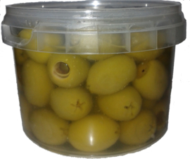 Griekse groene olijven zonder pit  op extra vierge olijfolie