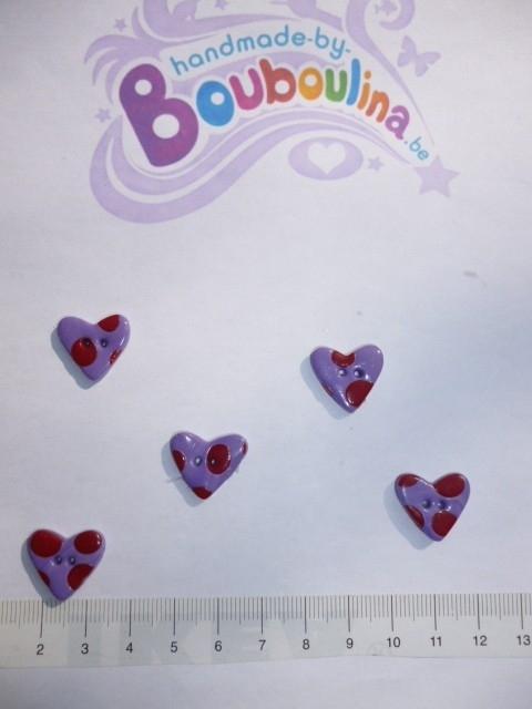 Hart lila met rode bolletjes - klein