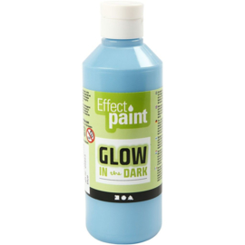 Glow in the dark verf, fluorescerende lichtblauw, 250ml
