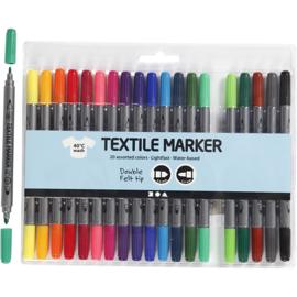 Textielstiften, lijndikte: 2,3+3,6 mm, standaardkleuren, 20 stuks