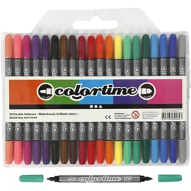 Colortime dubbelstift, lijndikte: 2,3+3,6 mm, standaardkleuren, 20 stuks