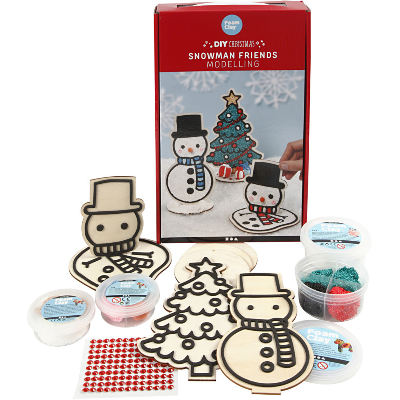 Knutselpakket Foam Clay figuren * Sneeuwpop met kerstboom * 1 - 3 personen