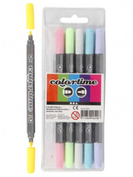 Colortime Dubbelstiften, pastelkleuren, 6 stuks