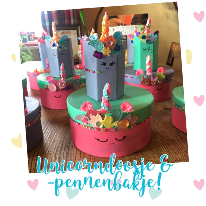 Kinderfeestje * Unicorn-doosje & -pennenbakje! *