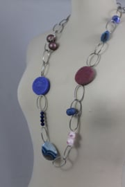 Roze | violet | paars lange ketting