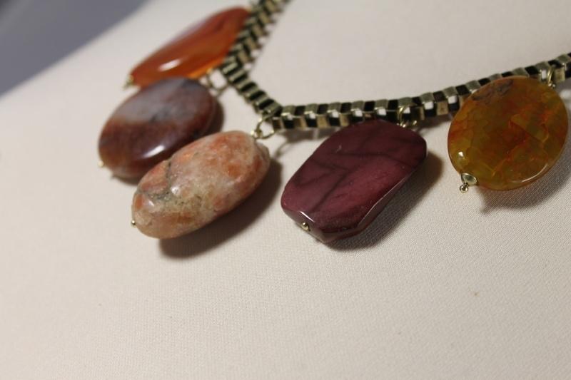 Oranje | bruin | brons korte ketting