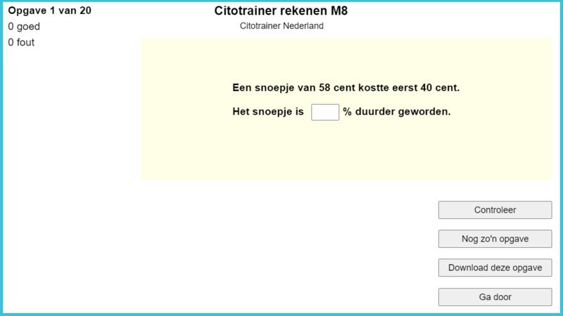 Citotrainer rekenen M8 (online opgaven)
