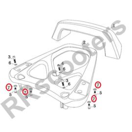 Razzo Lucca - Achterdrager  VEERRING M8  (nr. 7) (RVS) - SET VAN 4 STUKS