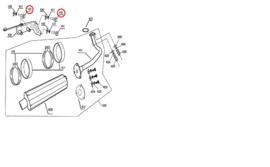 BTC F22 - 3x BOUT - Uitlaatbevestigingsplaat (nr. 435 + 439) - RVS M8 x 40 + ringen !