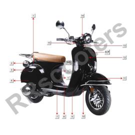 Razzo Torino -  Achterscherm RECHTS (zwart) (nr. 4) - (83500-AAA5-9000 B)