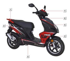 Razzo SR-50 / kap (nr. 3)  zwart-rood (QBM-42507-1000-SR-BL)