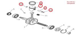 Neco GPX-50 (watergekoeld) -  Zuiger, Pistonpen, Zuigerveren, 2x Pistonveertje (nrs: 7,8,9,10)