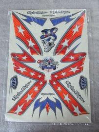 Stickerset Troy Lee Design Rebel Flag Rood