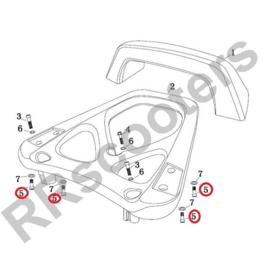 Razzo Lucca - Achterdrager  Bout M8x20 (nr. 5) (RVS) - SET VAN 4 STUKS