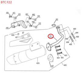 BTC F22 - Uitlaatpijp/Uitlaatbocht (nr. 421) - (R8 206)