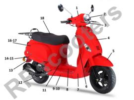 Neco Azurro - Spatbord Voor (Rosso) - (nr. 5) - M61100-ALA6-9000ROS