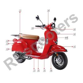 Razzo Torino -  Voor spatbord (rood) (nr. 11) - 61100-AAA5-9000 D