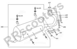 Neco Borsalino 125cc - Uitlaat (nr. 420) - M125T-E-040400