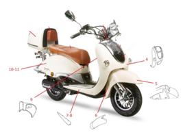 Neco Borsalino 125cc - KAPPENSET compleet (creme)