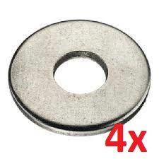 19 - Set van 4x RVS bouten + 4x RVS ringen (t.b.v. stuurbevestiging)